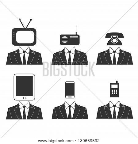 Vector. Communication, technology icons. Tv head, radio head, phone head, tablet head, mobile head.