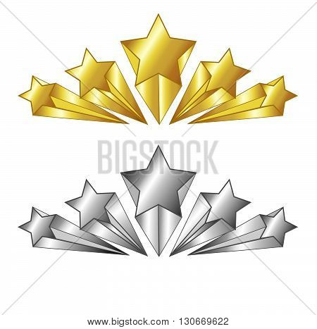 Vector. 5 Star symbol in gold and silver colors. Isolated illustration. Suitable for hotels and other services rate.