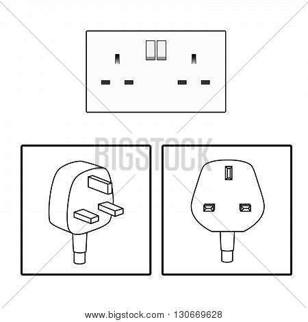 Vector. UK / British socket and plug. Icon. Three (3) pin socket isolated illustration.