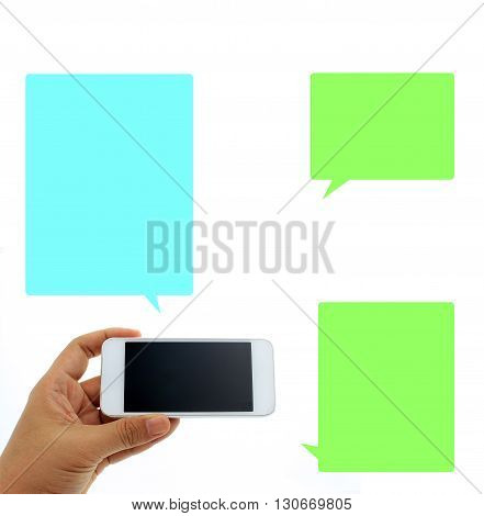 Phone in hand - to work on a smartphone with opening speech