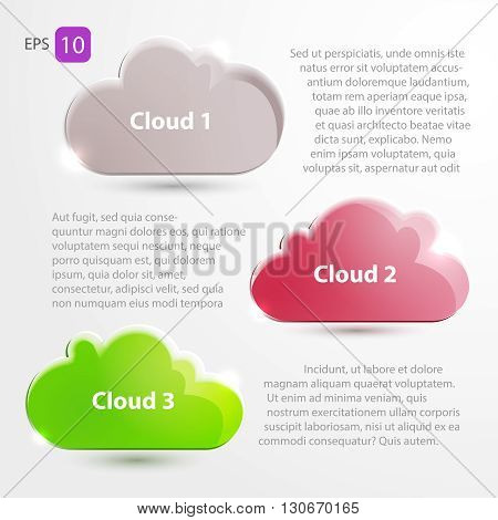 Cloud Icons. Cloud Internet, telecommunications and networks. Place for text vector