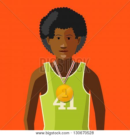 African athlete with golden medal for first place on red background flat illustration