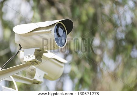 Closed circuit camera in the front of fence