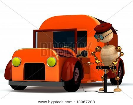 3D Wood Man Pumping Red Trucks Tire