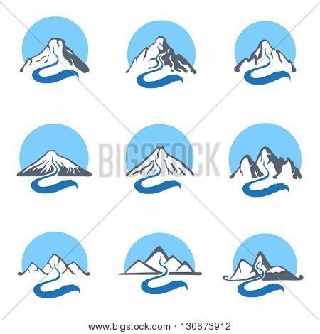 Mountain river logo set, vector icon illustration.