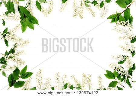 Frame of white flowers and green leaves isolated on the white. Top view, flat lay