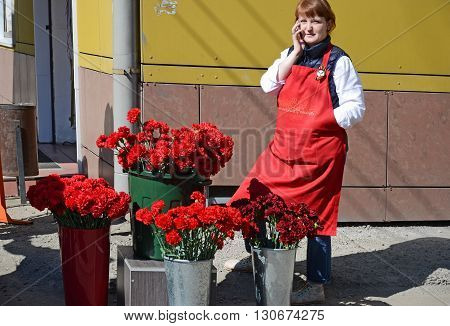 Irkutsk Russia - May 9 2015: Red carnations for sale on Victory Day Celebration