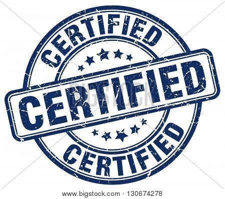 certified blue grunge round vintage rubber stamp
