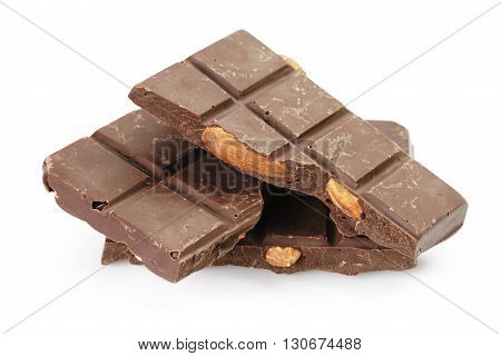 homemade chocolate with almonds, isolated on white background
