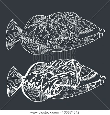 Fish. Hand drawn stylized sea fish ethnic floral doodle pattern zentangle style art sketch pattern. Coloring book page fabric print tattoo design isolated black on background