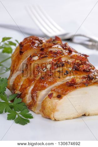 Cut to slices of roasted chicken breast