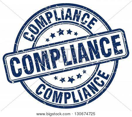compliance blue grunge round vintage rubber stamp