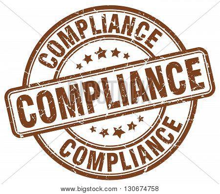 compliance brown grunge round vintage rubber stamp