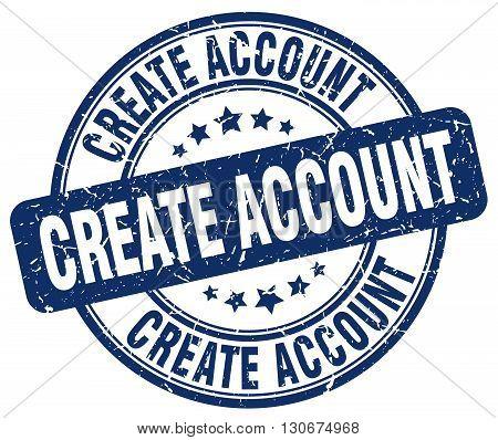create account blue grunge round vintage rubber stamp
