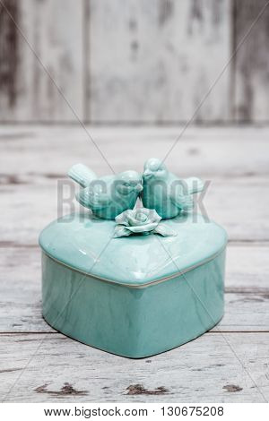 Green Porcelain Box With Birds And Flowers