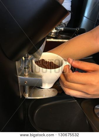 The barista takes grounded coffee to prepare a smooth creamy cup of espresso latte
