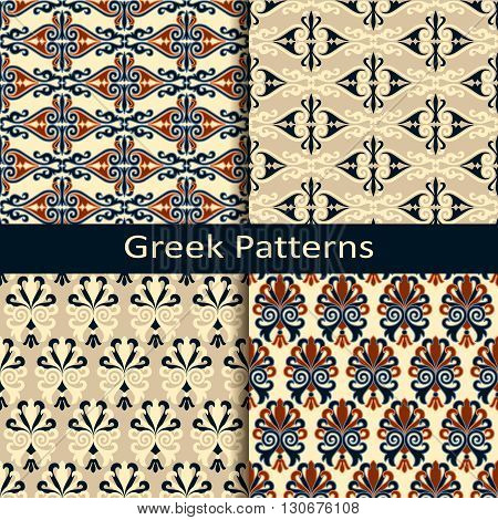 seamless vector set of four colorful ancient greek pattern designs