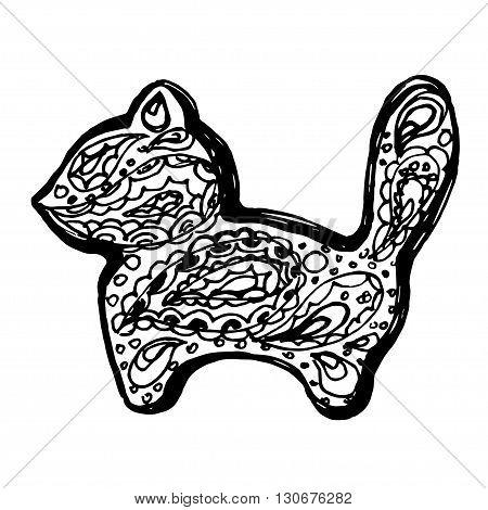 Cat in paisley doodle mehndi style. Vector animal. Kitten silhouette illustration.