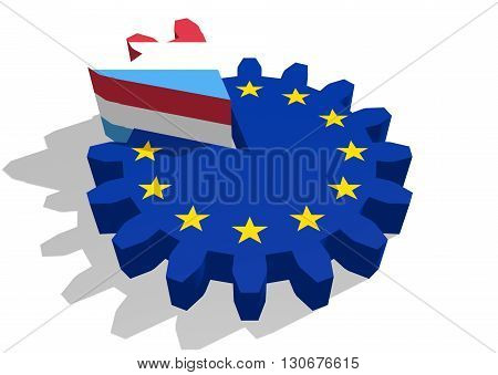 European union flag on gear and Luxembourg as part of cog wheel. 3D rendering