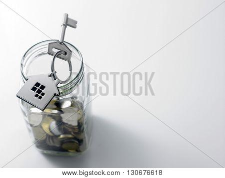 house shaped key vhain and saving jar