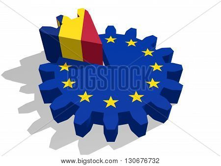 European union flag on gear and Romania as part of cog wheel. 3D rendering