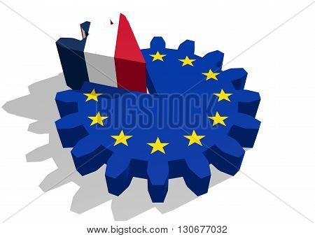 European union flag on gear and France as part of cog wheel. 3D rendering