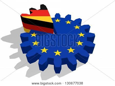 European union flag on gear and Germany as part of cog wheel. 3D rendering