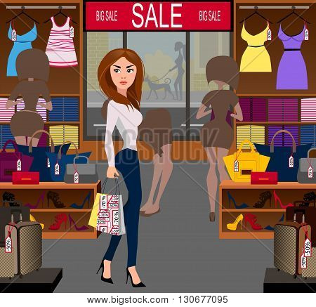 Fashionable woman with purchases on a big sale in the shop