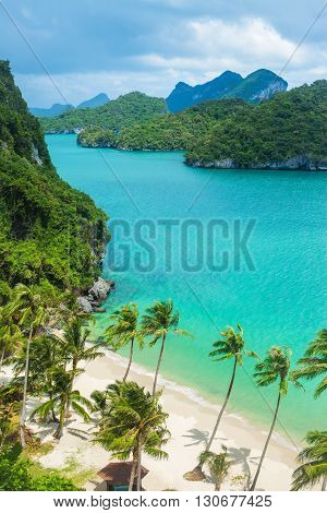 Paradise Beach On Tropical Island. Ang Thong National Marine Park. Top View