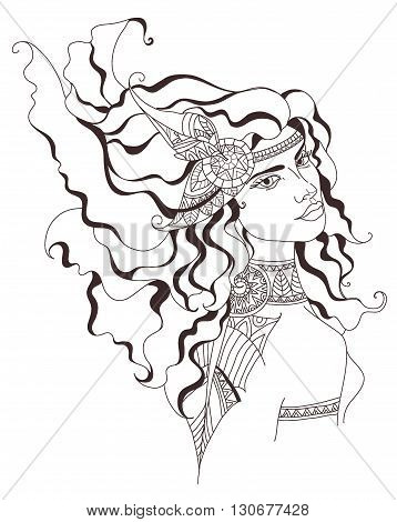 Boho style fashion girl. Beautiful girl with long hair. Vector illustration
