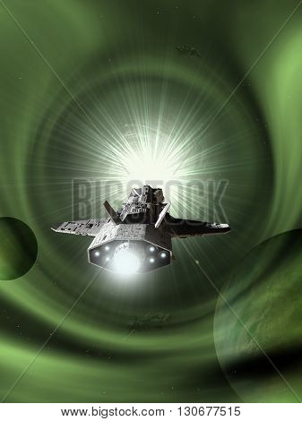 Science fiction illustration of an interplanetary spaceship approaching light speed entering a green wormhole in space, 3d digitally rendered illustration (3d rendering, 3d illustration)