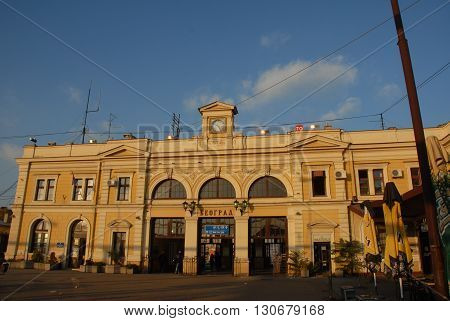 BELGRADE/SERBIA-OCTOBER 24, 2015: Main Station Building of Belgrade at the city center. October 24, 2015-Belgrade/Serbia