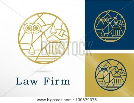 PREMIUM DESIGN OF LAW LOGO / ICON . COMBINATION OF MULTIPLE LAW ELEMENTS . COLORS USED : GOLD , DEEP BLUE