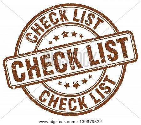 check list brown grunge round vintage rubber stamp