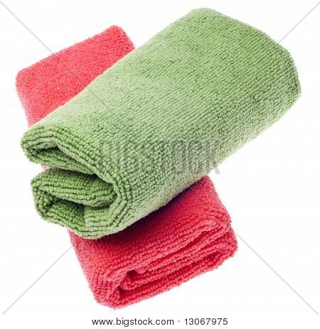 Pink And Green Microfiber Cleaning Towels