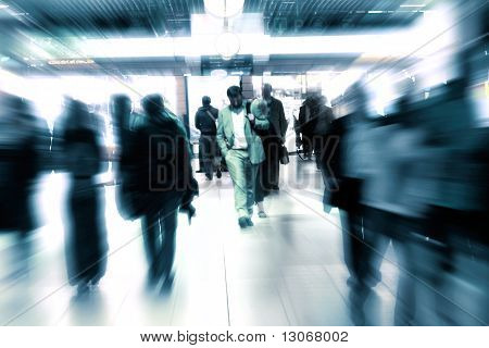 People Walking In A Modern Interior, Motion Blur.