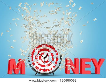 Time is money concept with abstract dartboard clock crumbling into dollar banknotes on blue background