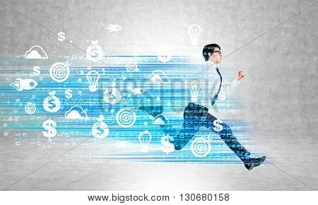 Success concept with running businessman and digital code with target startup and financial wellbeing icons