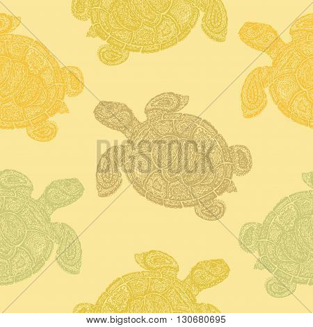 Sea Turtle Illustration In Paisley Mehndi Style Pattern.