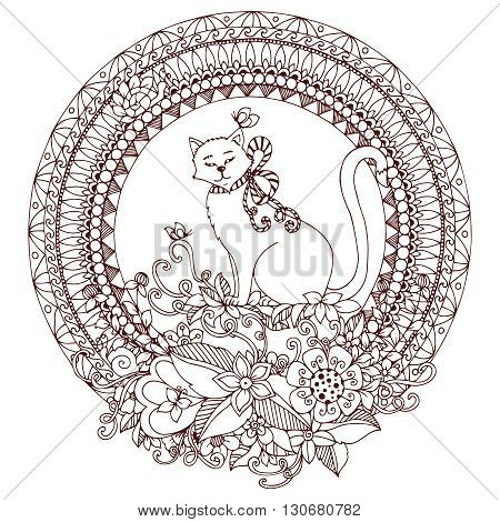 Vector illustration Zen Tangle cat in round frame. Doodle flowers mandala. Coloring book anti stress for adults. Brown and white.