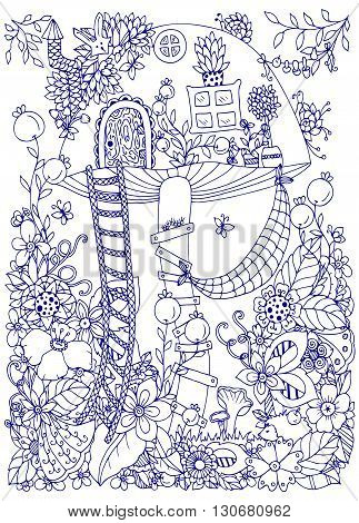 Vector illustration Zen Tangle doodle house of the fungus in the forest. Doodle flowers. Coloring book anti stress for adults. Coloring page. Blue and white.