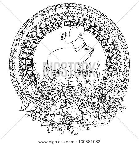 Vector illustration Zen Tangle Mouse cook in a round floral frame. Mandala kitchen doodle flowers. Coloring book anti stress for adults. Black and white.