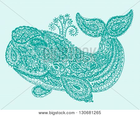 Whale In Paisley Doodle Mehndi Style.
