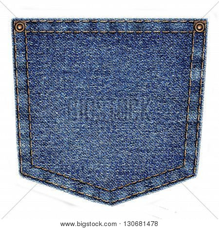 Simple blue jeans pocket isolated on white background