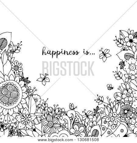 Vector Illustration Of Floral Frame Zen Tangle. Dudlart. Coloring Book Anti Stress For Adults. Color
