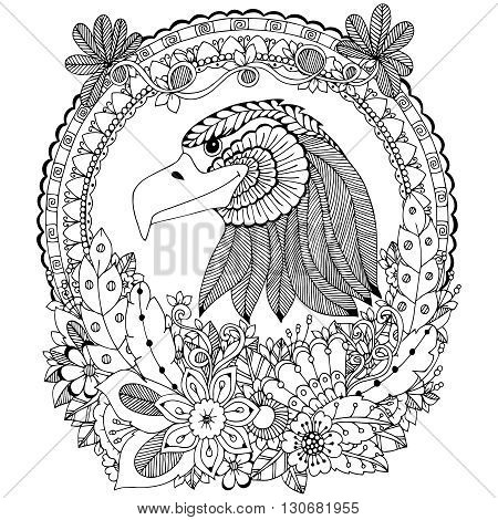 Vector illustration Zen Tangle eagle round frame floral. Doodle flower. Coloring book anti stress for adults. Black and white.