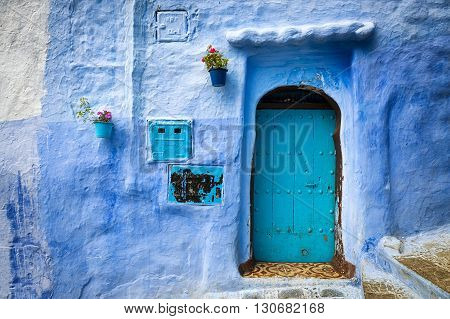 Detail of a door in the town of Chefchaouen in Morocco