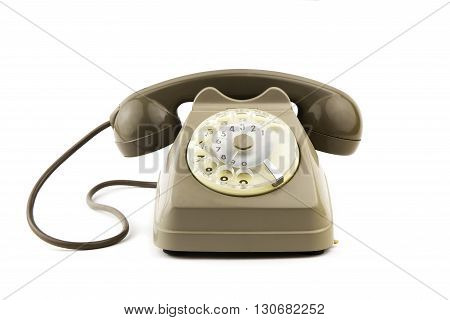 portrait of old - vintage telephone in white background