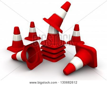 Traffic cones. Red - white protective (signaling) traffic cones on white surface. Isolated. 3D Illustration