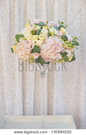 Bouquet of vintage wedding flowers. Hydrangea, Lisianthus, Eucalyptus, Rose, Peony.